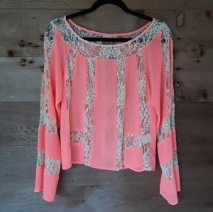 Gianni Bini Pink Boho Flowy Lace Inset Top Small